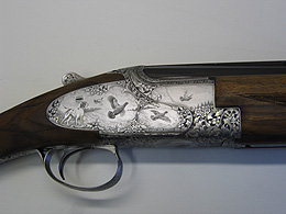 Right hand view of engraved Peter Masters gun