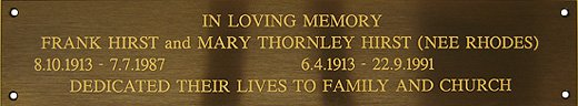Bronze engraved remembrance sign