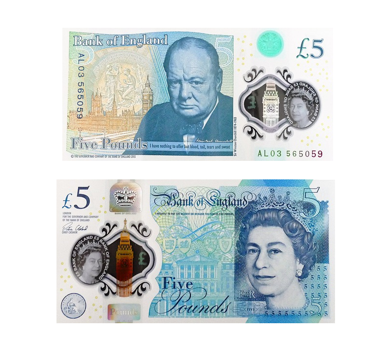 New five pound notes (front and back).