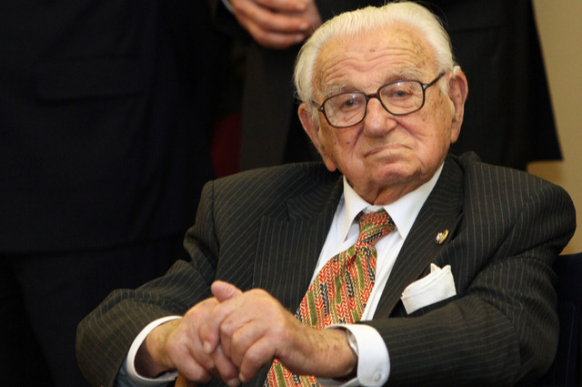 Sir Nicholas Winton image by Michal Kalasek (via Shutterstock).