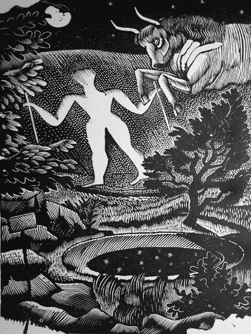 The Long Man of Wilmingham, a wood engraving by Eric Ravilious (1925).